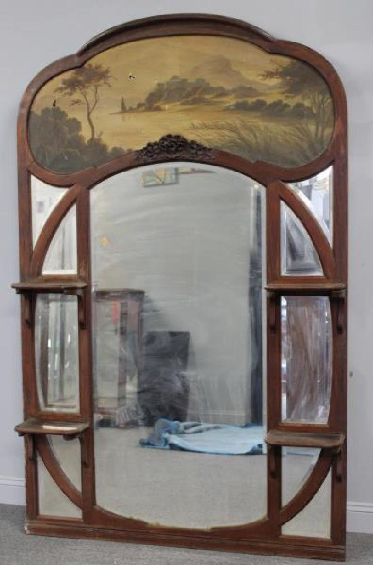 Art Nouveau Trumeau Style Mirror with Painting