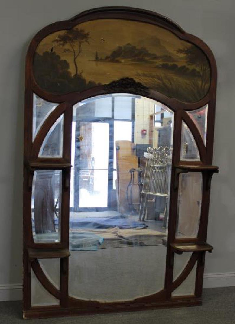 Art Nouveau Trumeau Style Mirror with Painting - 2