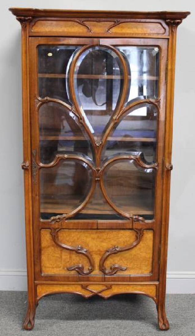 Art Nouveau Maple and Mahogany Cabinet.