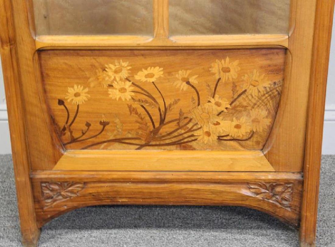 Art Nouveau Carved and Inlaid Cabinet Signed C. - 3