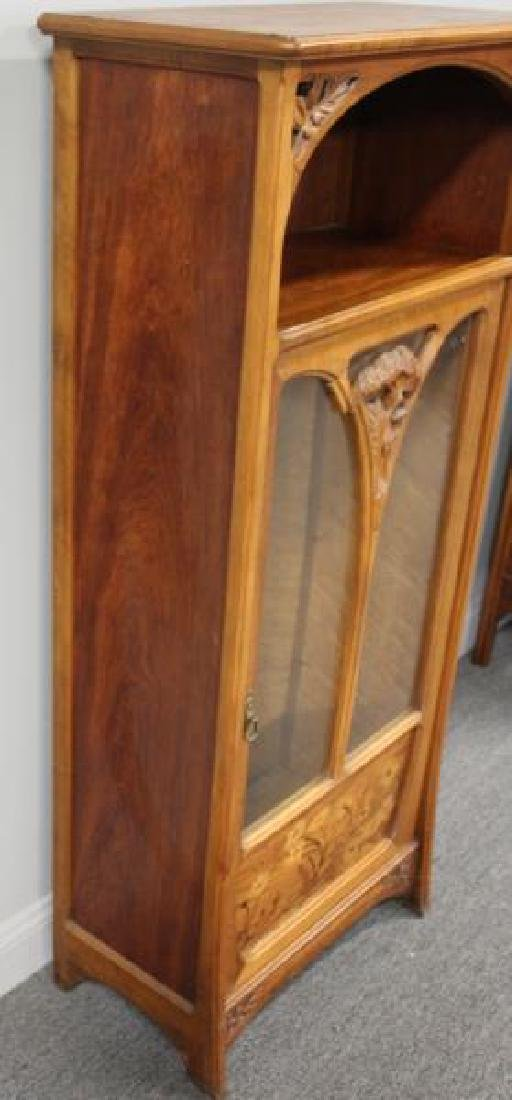 Art Nouveau Carved and Inlaid Cabinet Signed C. - 6