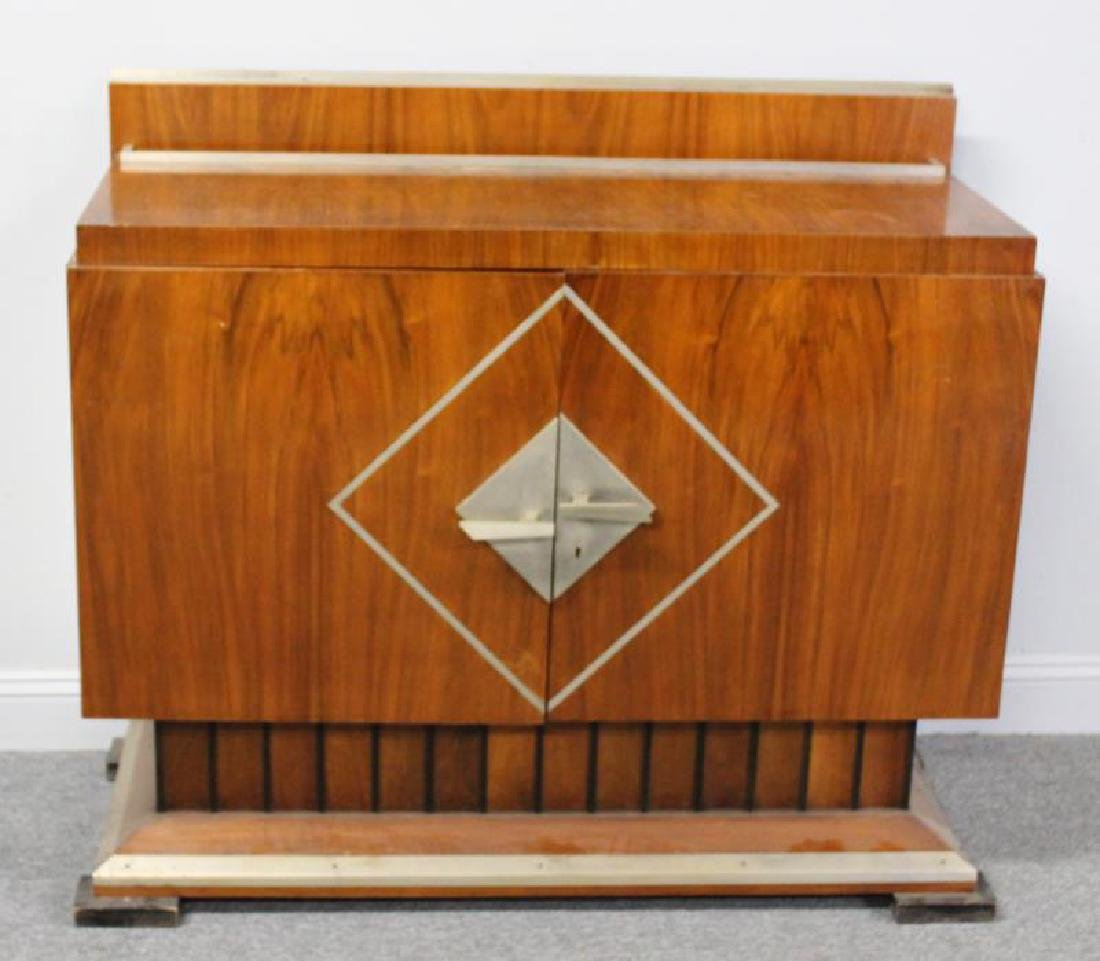 Art Deco 2 Door Cabinet with Fluted Base and Steel