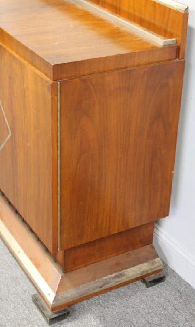 Art Deco 2 Door Cabinet with Fluted Base and Steel - 7