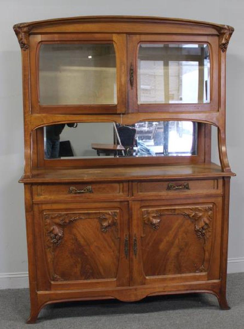 Art Nouveau Carved Server / China Cabinet