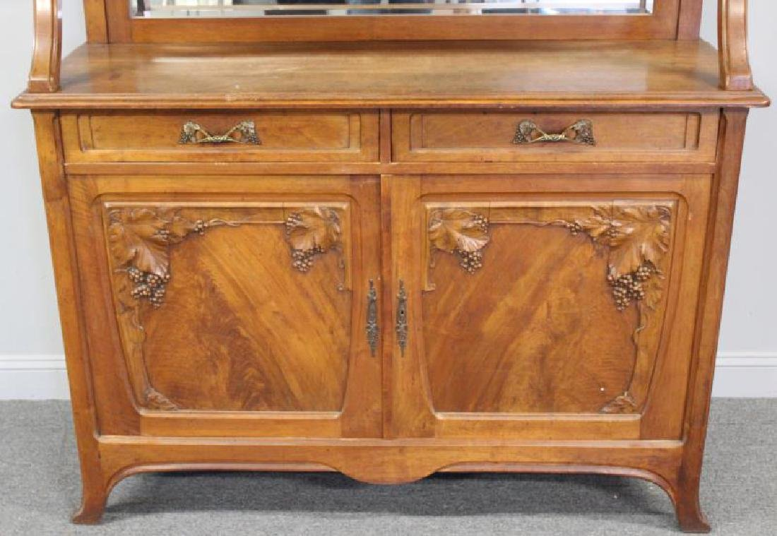 Art Nouveau Carved Server / China Cabinet - 2