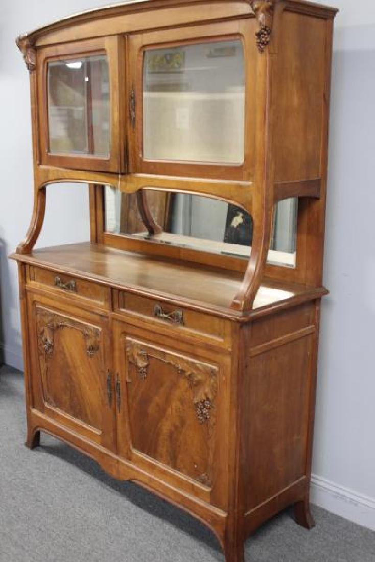 Art Nouveau Carved Server / China Cabinet - 5