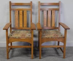 Pair of Stickley Audi Mission Style Oak