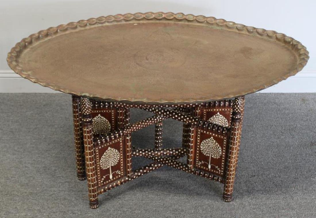 South East Asian Bone Inlaid & Brass Tray on Stand