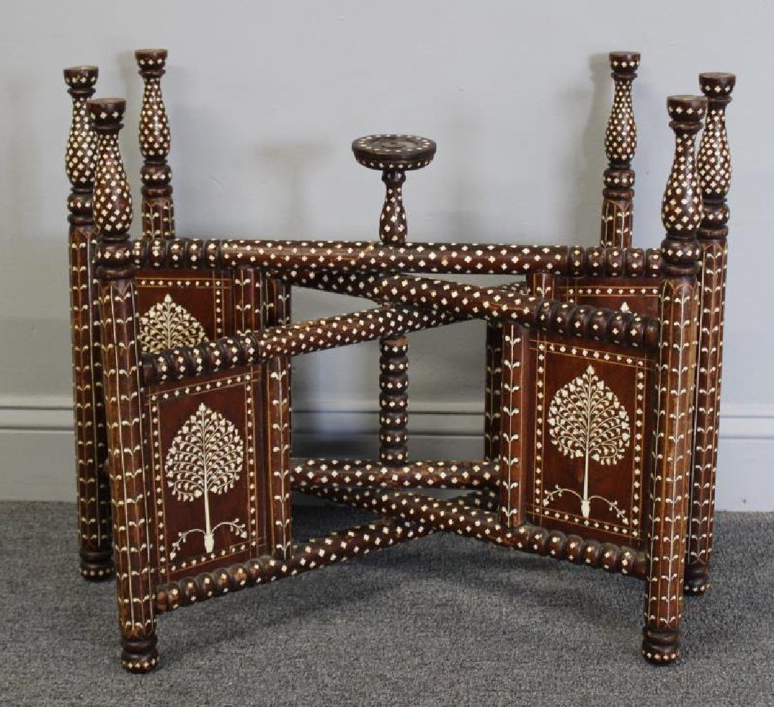 South East Asian Bone Inlaid & Brass Tray on Stand - 2