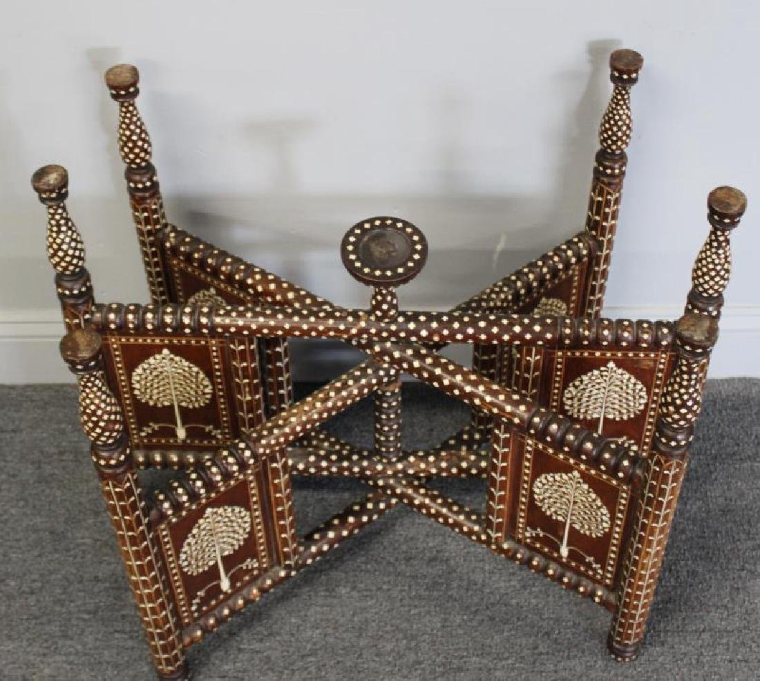 South East Asian Bone Inlaid & Brass Tray on Stand - 3