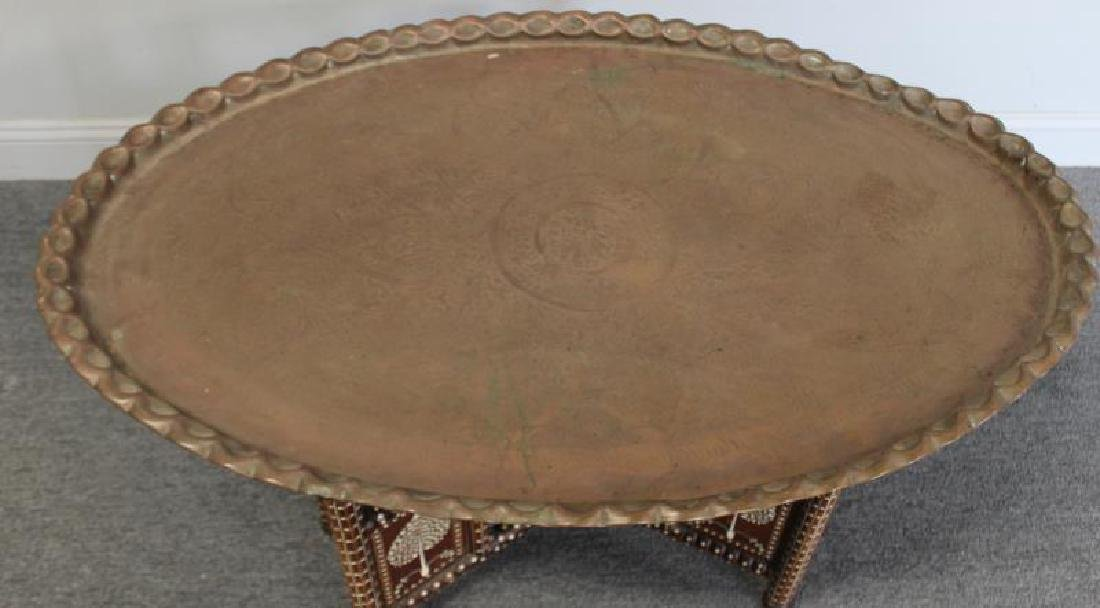 South East Asian Bone Inlaid & Brass Tray on Stand - 4