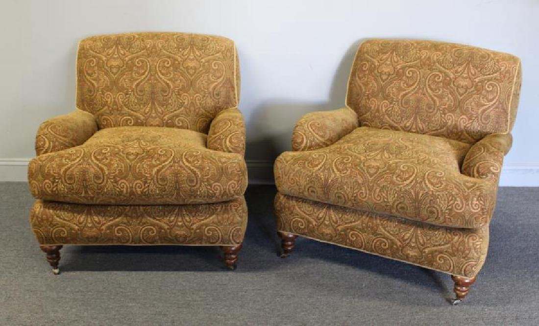 Pair Of Rinfret Signed Paisley Design Upholstered