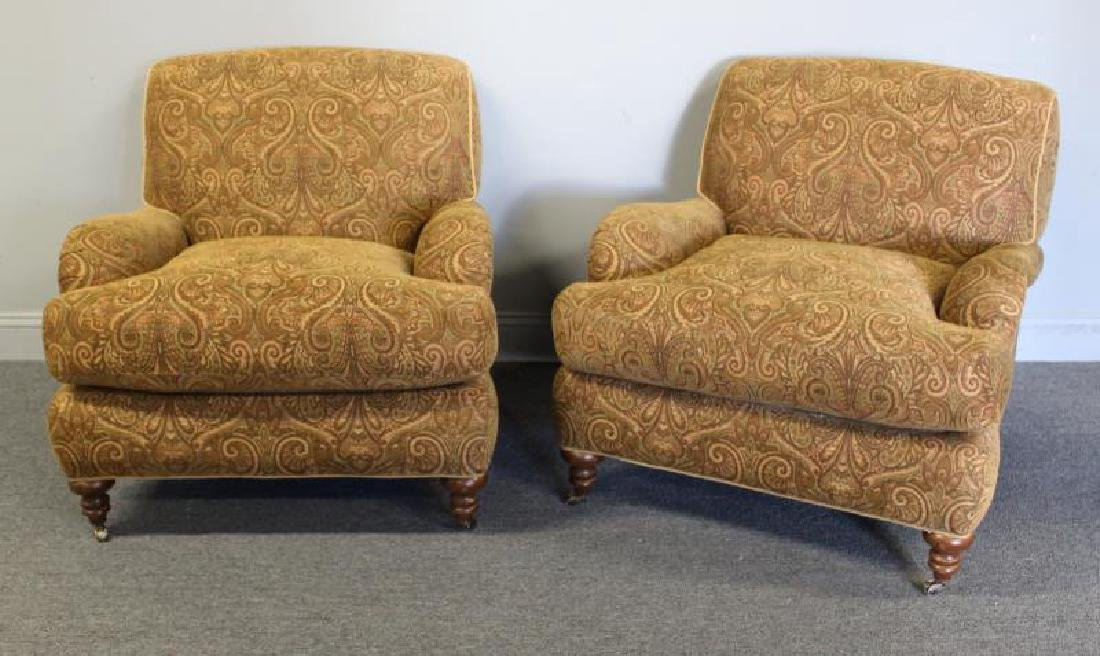 Pair Of Rinfret Signed Paisley Design Upholstered - 2