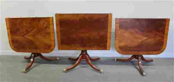 Fine Quality Triple Pedestal Banded Mahogany