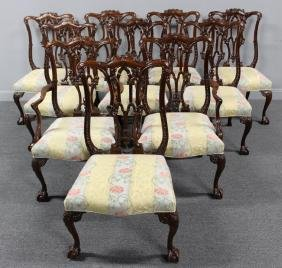 Set Of 10 Fine Quality Mahogany Chippendale