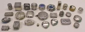 SILVER. Grouping of 27 Assorted Snuff Boxes.