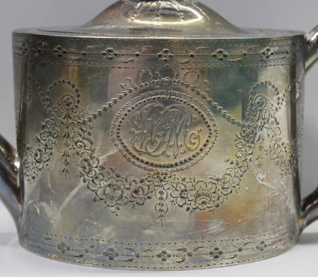 SILVER. George IV English Silver Teapot. - 3