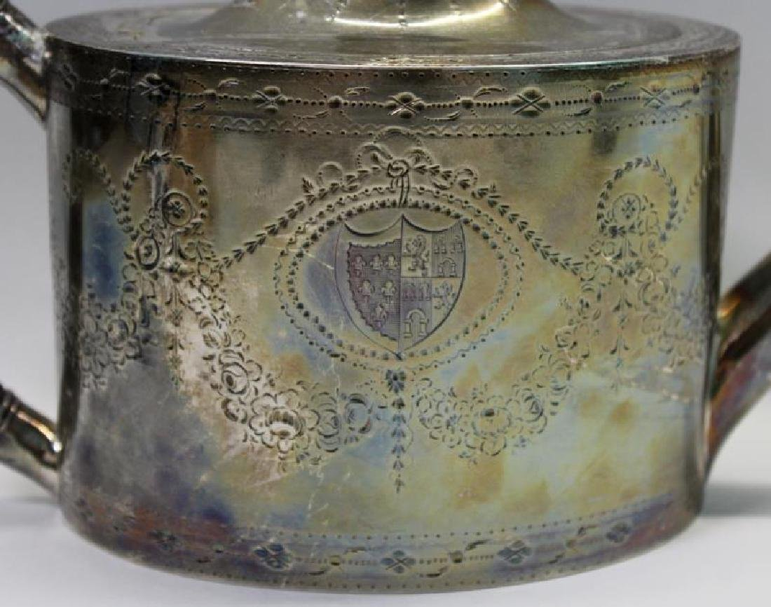 SILVER. George IV English Silver Teapot. - 5