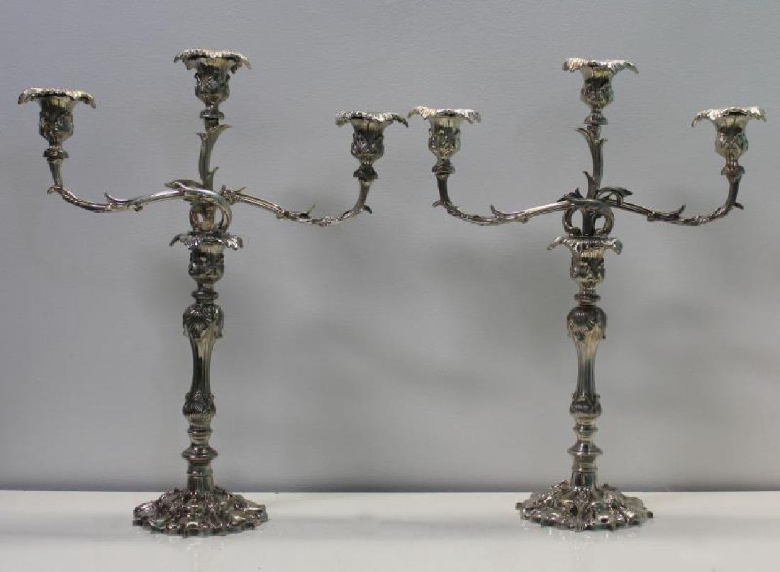 SILVER-PLATE. Pair of Rococo Style Candelabra.