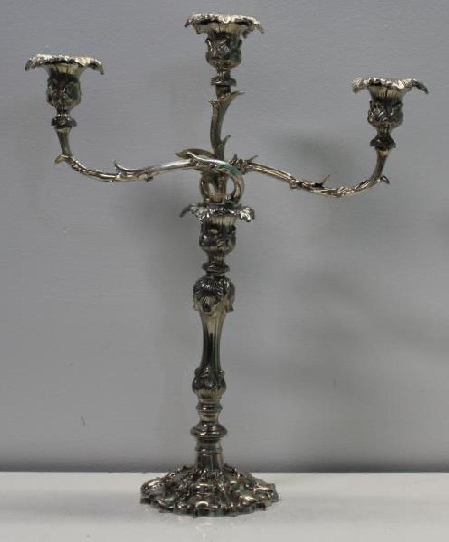 SILVER-PLATE. Pair of Rococo Style Candelabra. - 2