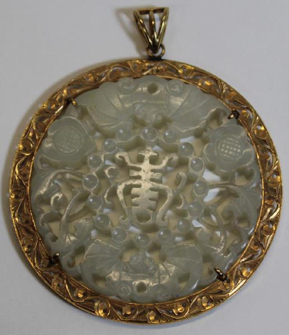 JEWELRY. 14kt Gold and Carved Jade Pendant. - 2