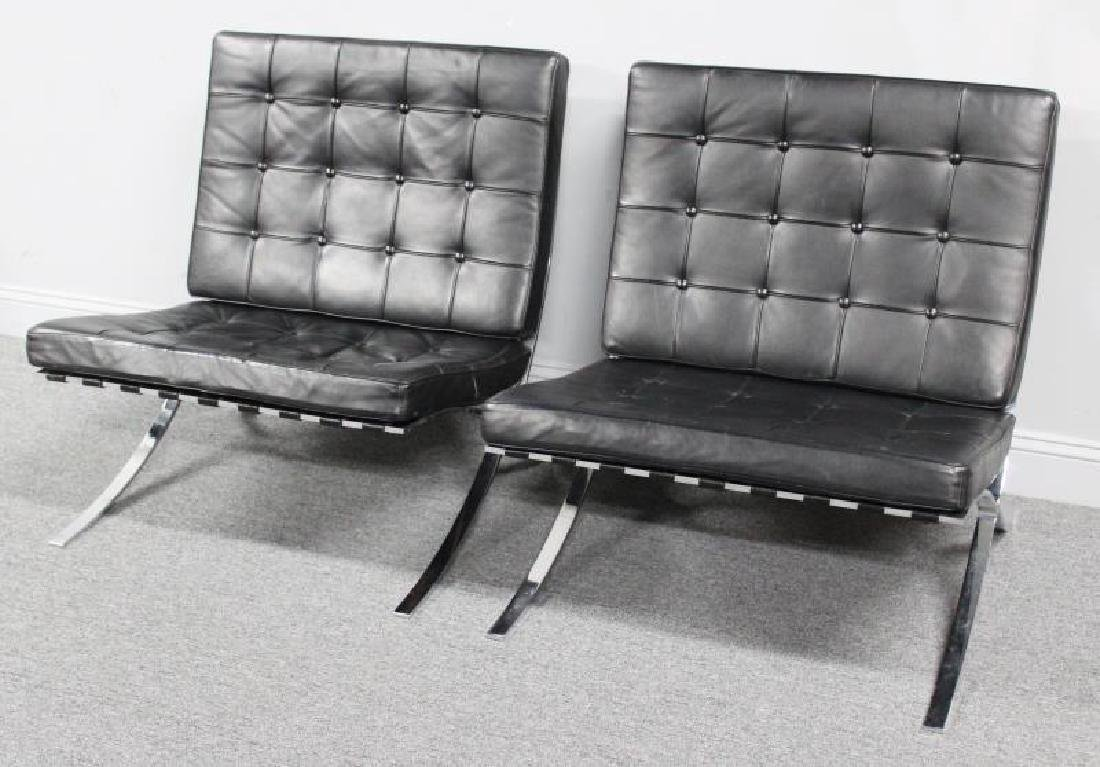 Pair of Knoll Style Barcelona Chairs.