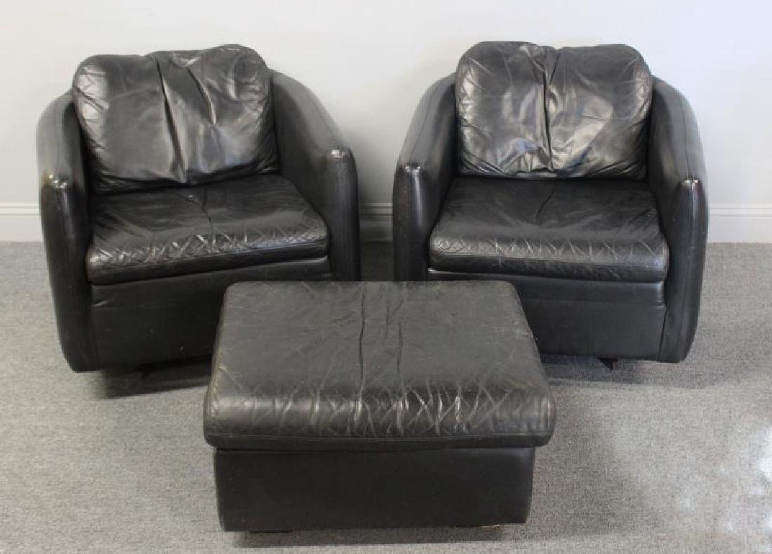 Pair of John Stuart Leather Lounge Chairs.