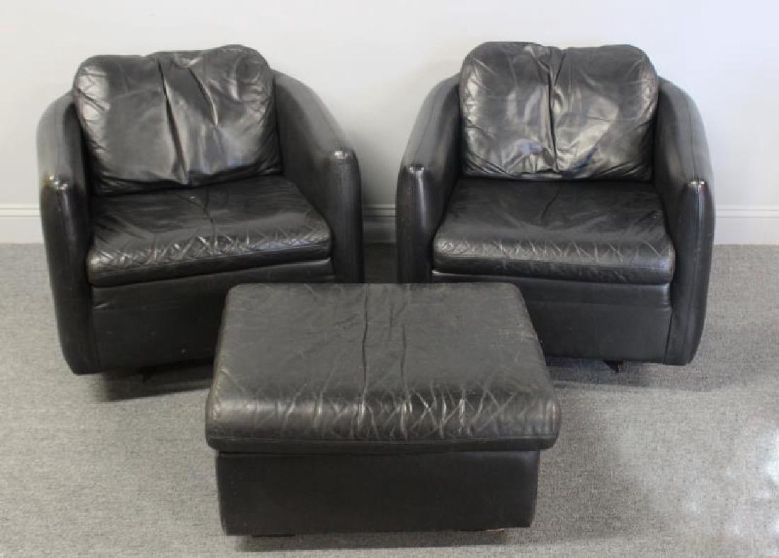 Pair of John Stuart Leather Lounge Chairs.