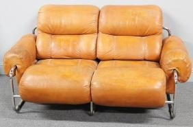 Midcentury 1970s Mariani Leather and Chrome Sofa.