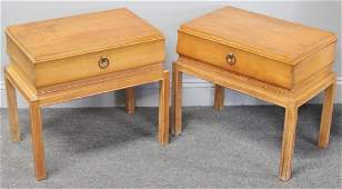 Midcentury Pair of Tommi Parzinger End Tables.