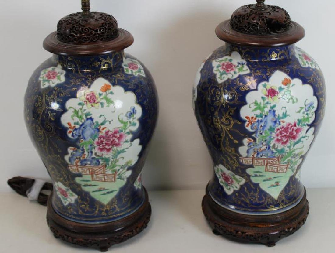 A Pair of Fine Quality Porcelain Enamel Decorated
