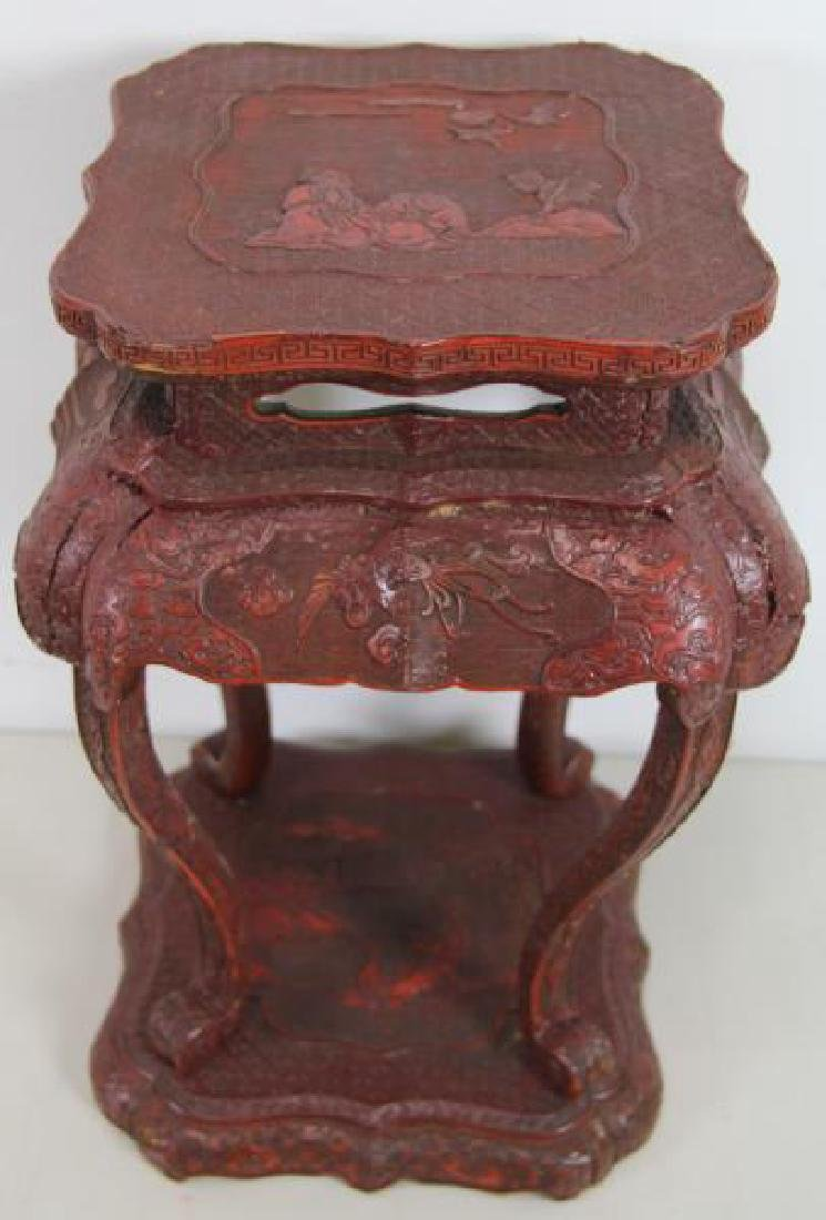 Antique Chinese Cinnabar Lacquer and Carved Wood