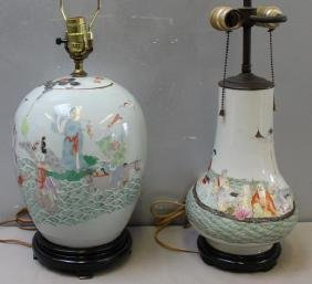Lot of 2 Chinese Porcelain Lamps. One an antique