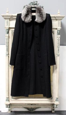 Ladies Valentino Virgin Wool and Chinchilla Coat.