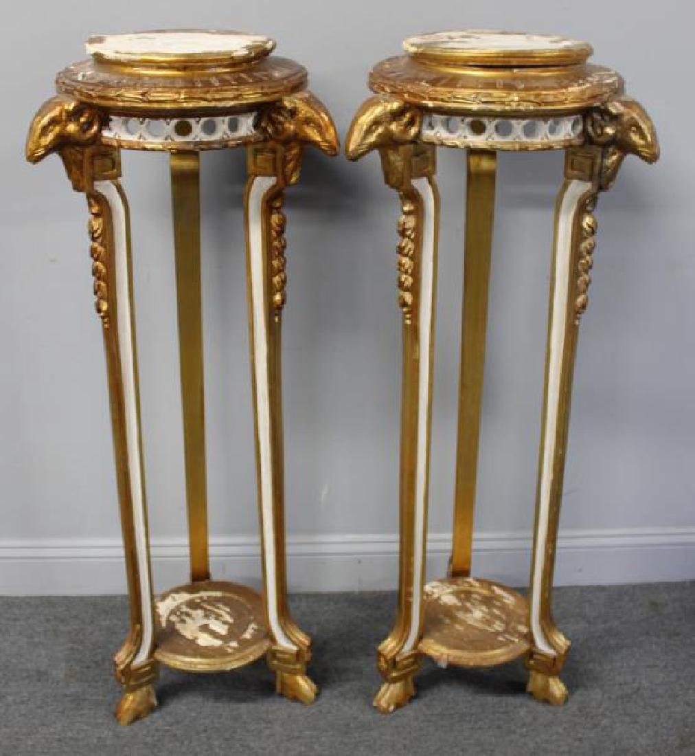 Pair Of Paint and Gilt Decorated Pedestals With