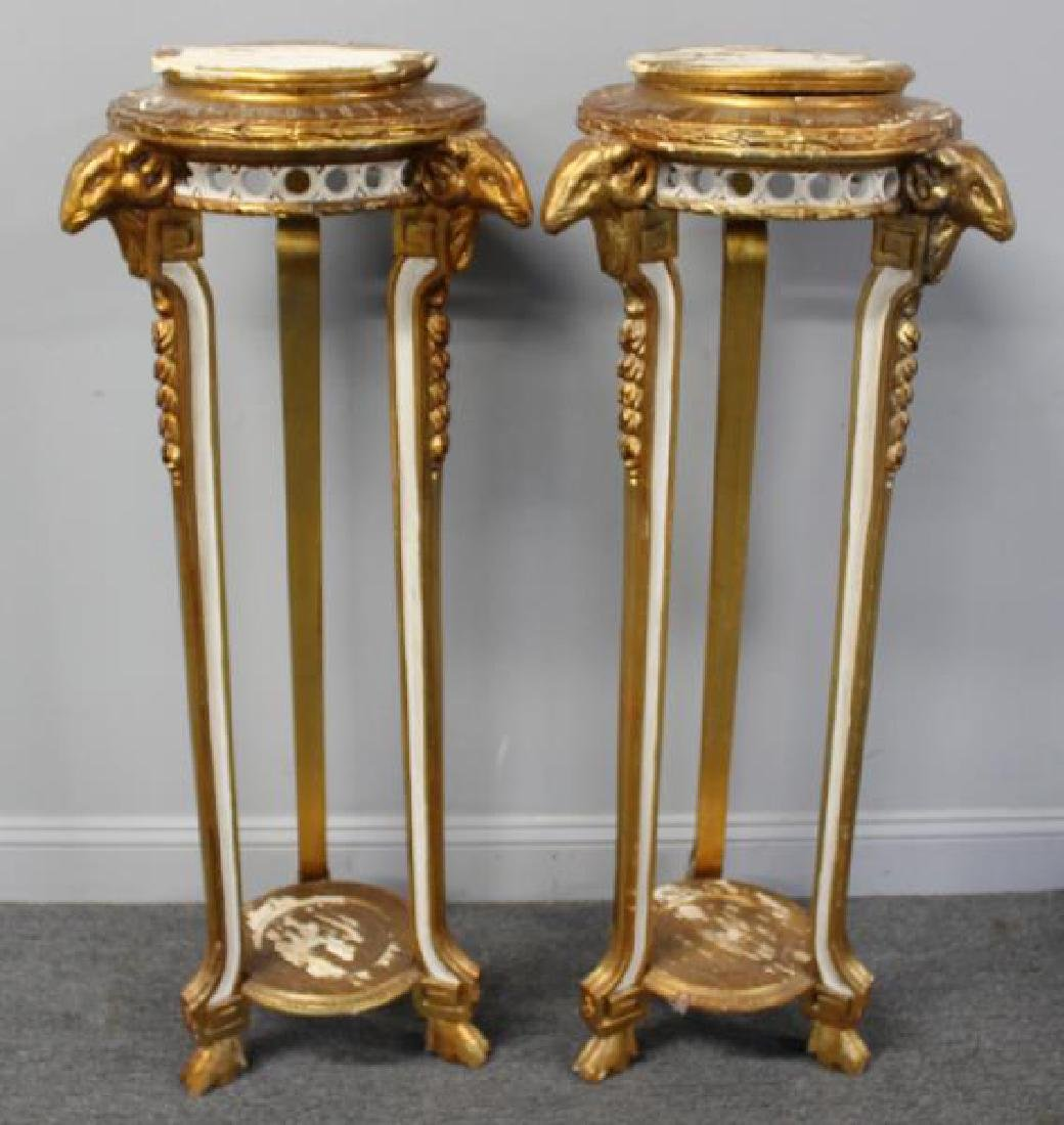 Pair Of Paint and Gilt Decorated Pedestals With - 2