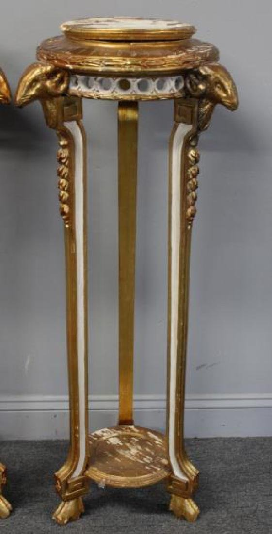 Pair Of Paint and Gilt Decorated Pedestals With - 3
