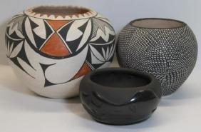 2 Acoma Pottery Vases, and 1 Santa Clara Vase.