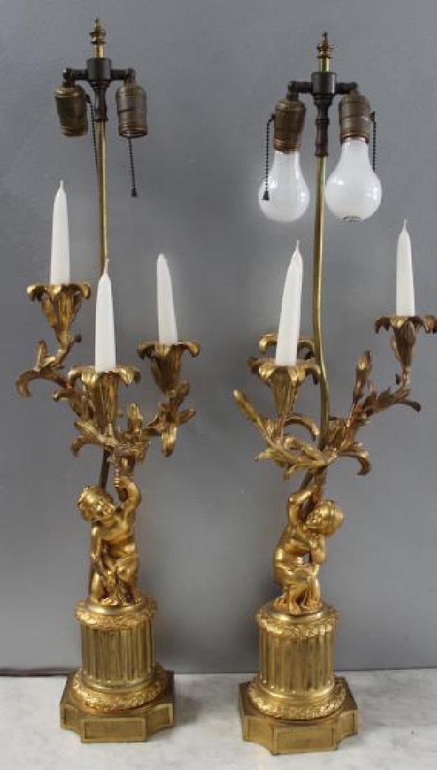 Pair Of 19 Century Dore Bronze Putti Form Candlebr