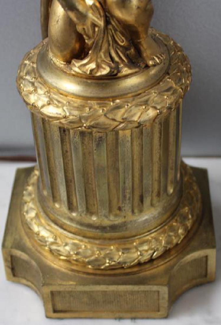 Pair Of 19 Century Dore Bronze Putti Form Candlebr - 4
