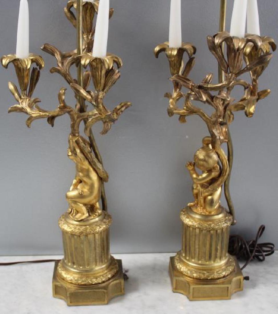 Pair Of 19 Century Dore Bronze Putti Form Candlebr - 5