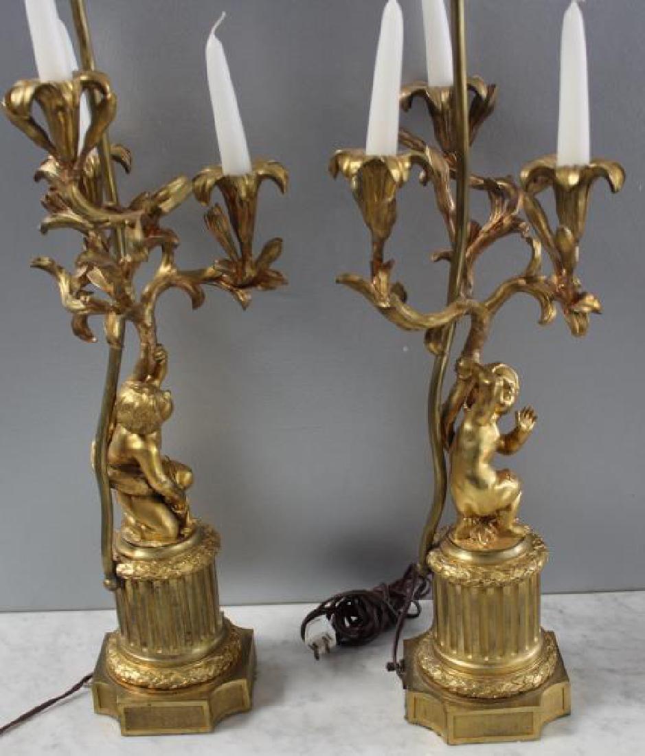 Pair Of 19 Century Dore Bronze Putti Form Candlebr - 7