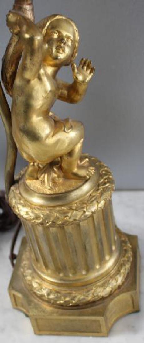 Pair Of 19 Century Dore Bronze Putti Form Candlebr - 8