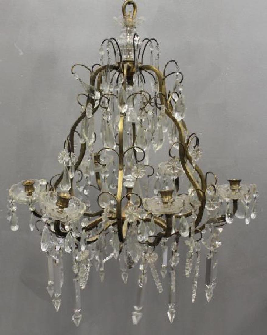 Gilt Metal Skeleton Form Chandelier .