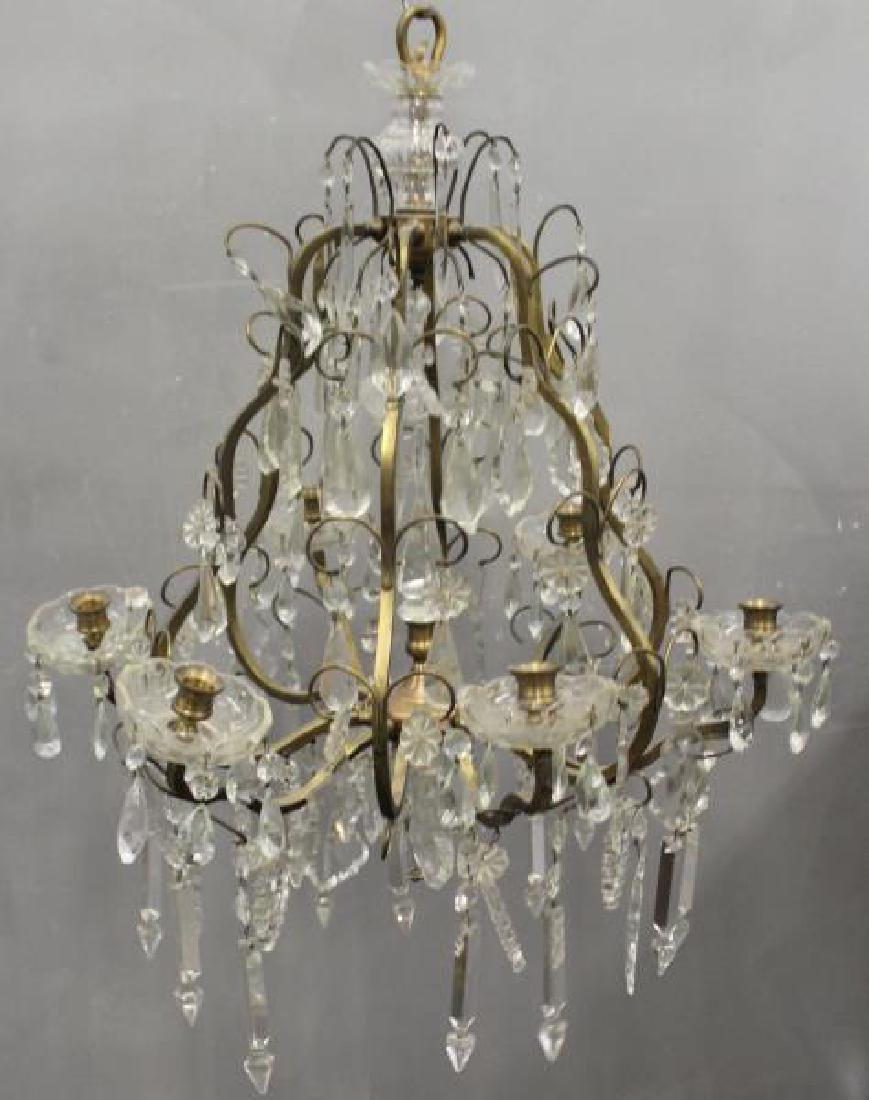 Gilt Metal Skeleton Form Chandelier . - 2