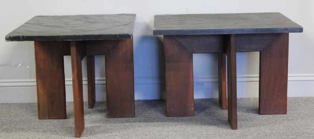 Pair of Midcentury Slate Top Tables.