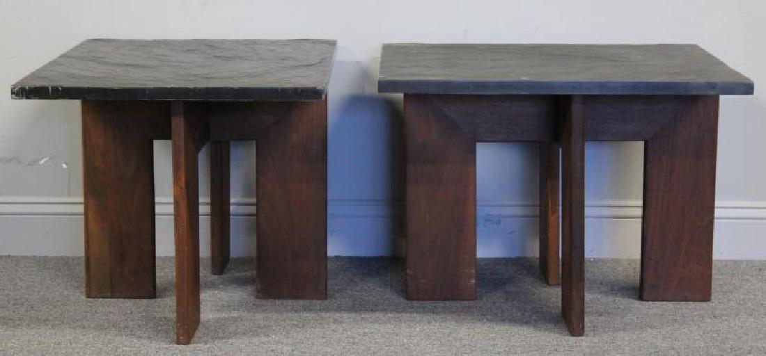Pair of Midcentury Slate Top Tables. - 2