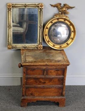 2 Antique Mirrors and an Antique Elm Box .