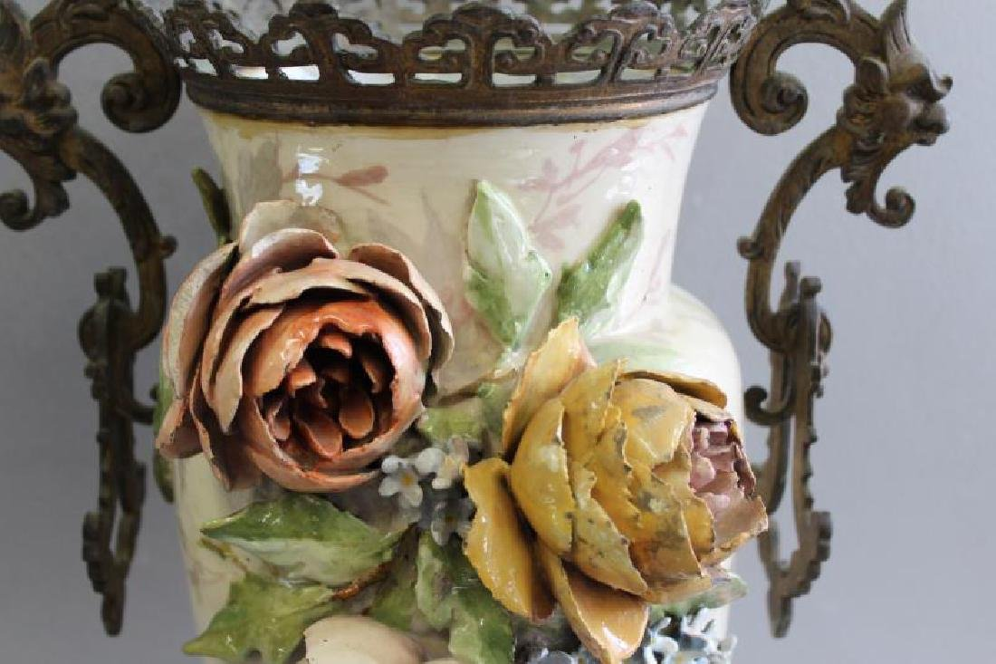 Emile Galle Majolica Style Vase With Gilt Metal - 2