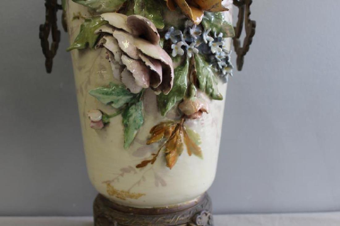 Emile Galle Majolica Style Vase With Gilt Metal - 3